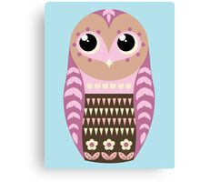 Cute Cartoon Owl (Pink Design) Canvas Print