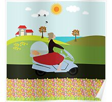 A woman riding a motorcycle Poster
