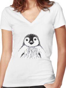 Baby Penguin  Women's Fitted V-Neck T-Shirt