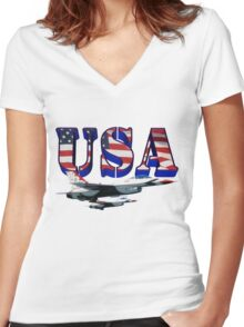 US Air Force Thunderbirds Women's Fitted V-Neck T-Shirt