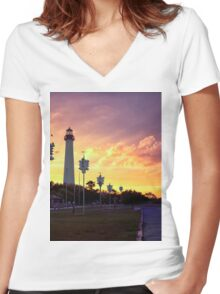 Cape May Lighthouse  Sunset Women's Fitted V-Neck T-Shirt