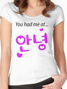 You had me at annyeong pink Women's Fitted Scoop T-Shirt