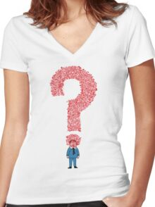 Question Boy Women's Fitted V-Neck T-Shirt