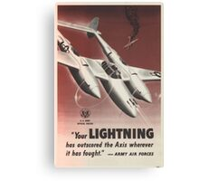 WWII Poster - P38 Lightning Canvas Print
