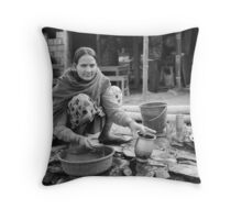 Nepalese woman doing the dishes Throw Pillow