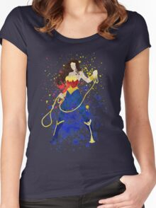 Superheroine Splatter Art Women's Fitted Scoop T-Shirt