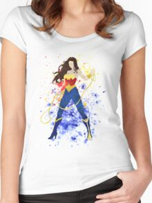 Superheroine Splatter Art Women's Fitted Scoop T-Shirt