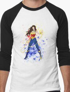 Superheroine Splatter Art Men's Baseball ¾ T-Shirt