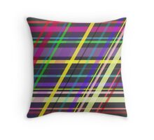 Purple Yellow Green Blue Summer Fun Trippy Crossing Lines Throw Pillow
