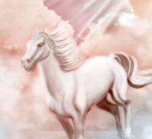 White Horse Running Trough The Clouds Sticker