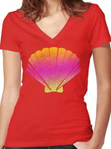 Pink Shell Women's Fitted V-Neck T-Shirt