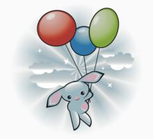 Cute Blue Bunny Flying With Balloons Kids Tee