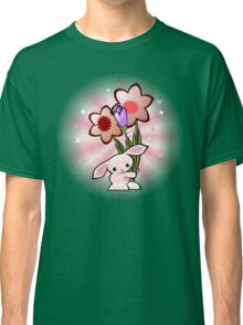 Cute Pink Bunny With Flowers Classic T-Shirt