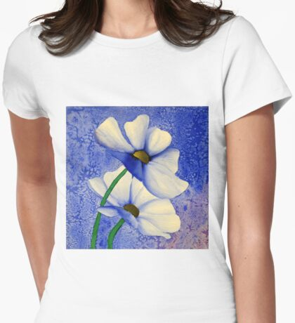 Cosmea Flower Painting Womens Fitted T-Shirt