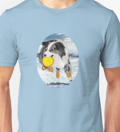 Frisbee Dog ~ Australian Shepherd ~ t-shirt & Sticker Unisex T-Shirt