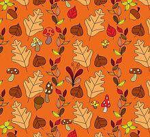 Orange Autumn Leaf Pattern by SaradaBoru