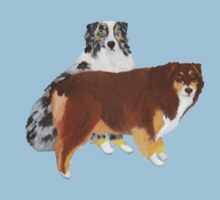 Aussie Pair ~ Australian Shepherd ~  sticker and T-shirt by Barbara Applegate