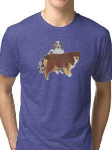 Aussie Pair ~ Australian Shepherd ~  sticker and T-shirt Tri-blend T-Shirt