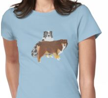Aussie Pair ~ Australian Shepherd ~  sticker and T-shirt Womens Fitted T-Shirt