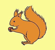 Red Squirrel with Nut by Zoe Lathey