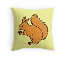 Red Squirrel with Nut Throw Pillow
