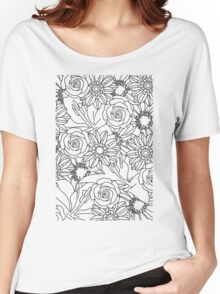 FLOWERS OF SUMMER B/W COLOUR IN Women's Relaxed Fit T-Shirt