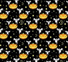 Pixel Halloween Pattern by SaradaBoru