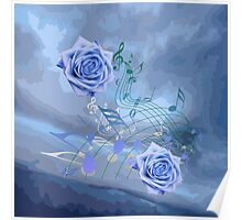 Soft Blue Music Notes & Roses Abstract Poster