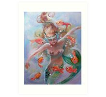 as She Dances with the Fishes Art Print