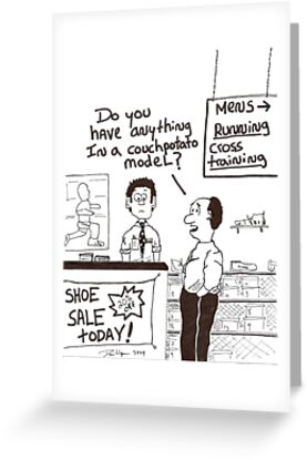 humorous cartoon of a lazy person buying shoes by Dan Wagner