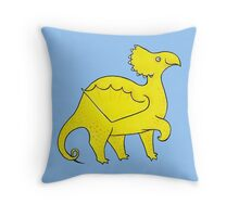 Happy Yellow Dragon Throw Pillow
