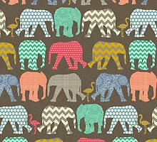baby elephants and flamingos dark linen by Sharon Turner