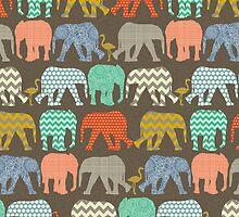 baby elephants and flamingos savannah by Sharon Turner