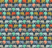 baby elephants and flamingos sienna by Sharon Turner