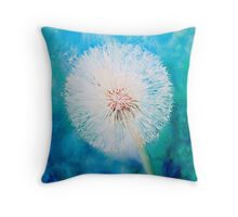 Dandelion on jade and blue Throw Pillow