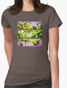 Roses In Green and purple Womens Fitted T-Shirt