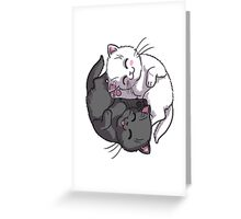 Kitten Kitty Yin Yang black and white sleeping circle Greeting Card