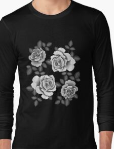 White Realistic Roses Long Sleeve T-Shirt