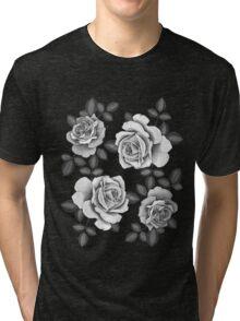 White Realistic Roses Tri-blend T-Shirt
