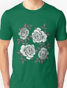 White Realistic Roses Unisex T-Shirt