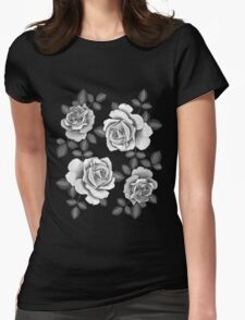 White Realistic Roses Womens Fitted T-Shirt