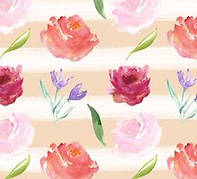 Peach Cream Stripes Watercolor Flowers by pencreations