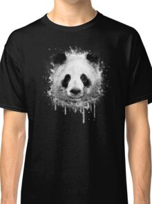 Cool Abstract Graffiti Watercolor Panda Portrait in Black & White  Classic T-Shirt