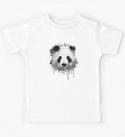 Cool Abstract Graffiti Watercolor Panda Portrait in Black & White  Kids Clothes