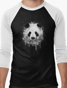 Cool Abstract Graffiti Watercolor Panda Portrait in Black & White  Men's Baseball ¾ T-Shirt