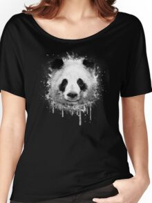 Cool Abstract Graffiti Watercolor Panda Portrait in Black & White  Women's Relaxed Fit T-Shirt