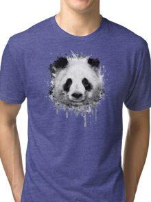 Cool Abstract Graffiti Watercolor Panda Portrait in Black & White  Tri-blend T-Shirt