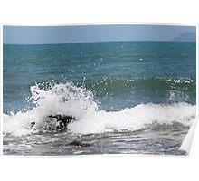 Splash over beach rock Poster