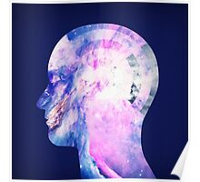 Abstract Space / Universe / Galaxy Face Silhouette  Poster