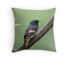American Redstart On Green Throw Pillow